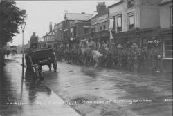 Photo of troops marching through Sittingbourne during World War II