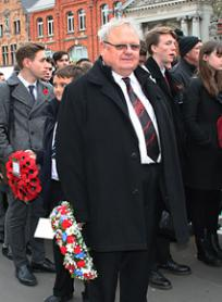 Councillor Bowles, Leader of the Council with wreath