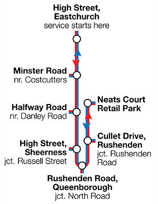 Diagram of hop-on, hop-off Christmas bus service
