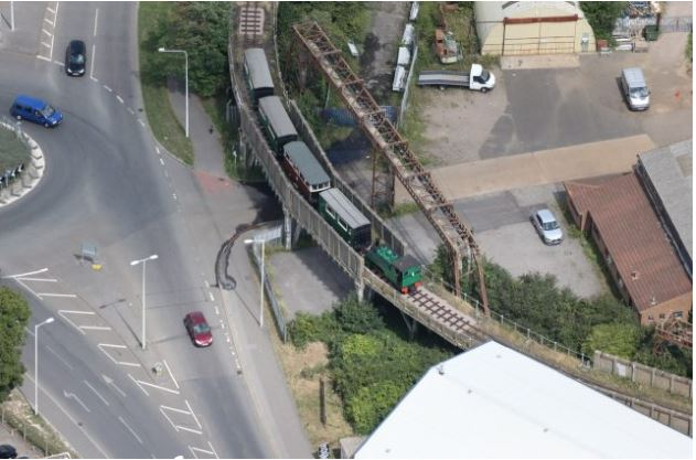 2.Aerial view of the viaduct carrying the Sittingbourne to Kemsley Light Industrial Railway, Milton Regis