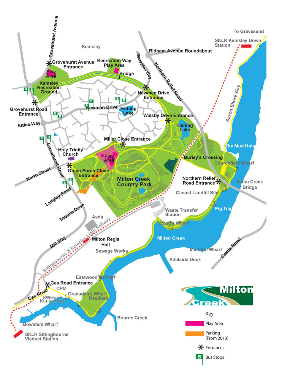 A map of the Milton Creek Country Park